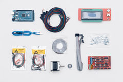 Flat lay of electronic and mechanical parts and components of DI Stock Image