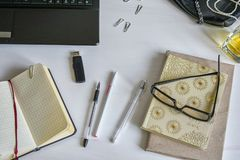 Flat lay fashion feminine home office workspace. Top view stock illustration