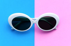 Flat lay fashion style sunglasses on colorful background Royalty Free Stock Photo