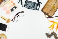 Flat lay of fashion woman. Feminine cosmetic background. Overhea. D of essentials fashion woman accessories. Women clothing set and accessories on white Royalty Free Stock Photos