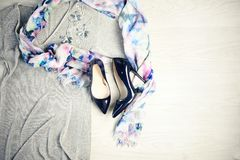 Indigo blue high hills and fashion. Flat lay of female accessories and shoes with high hills Stock Images