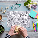 Flat lay, female coloring adult coloring book Stock Photos