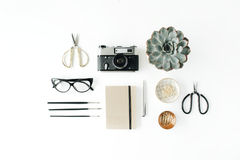 Flat lay female workspace with succulent stock photography