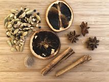 Spices for flavouring mulled wine stock photos