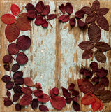 Flat lay frame of autumn crimson leaves on a blue wooden backgro Stock Photography