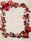Flat lay frame of autumn crimson leaves, hazelnuts, walnuts and Royalty Free Stock Photos