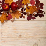 Flat lay frame of autumn crimson leaves, hazelnuts, walnuts and Stock Photos