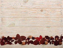 Flat lay frame of autumn crimson leaves, hazelnuts and walnuts o Stock Photography