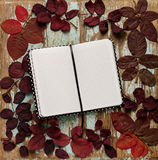 Flat lay frame of autumn crimson leaves with notebook on a blue Stock Photography