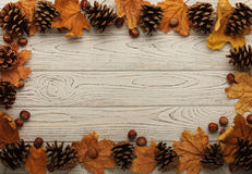 Flat lay frame of autumn leaves, cones and nuts on a wooden back Stock Photos