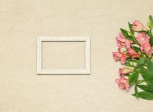Flat lay frame with  flowers on beige granite background stock images