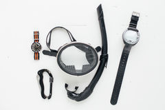 Flat lay of free diving equipment Royalty Free Stock Images