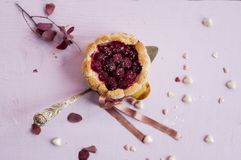 Flat lay french charlotte with raspberry on spoon,. Decorated pink ribbon and small hearts candy Stock Photography