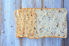 Flat lay of fresh sliced bread. Food background and texture with copy space Royalty Free Stock Image