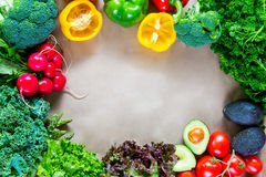 Flat lay of fresh vegetables with copy space Stock Photos
