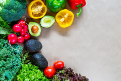 Flat lay of fresh vegetables with copy space Royalty Free Stock Photos