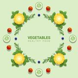 Flat lay Fresh vegetables on green background , healthy food concept stock illustration