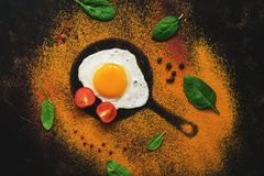 Flat lay fried egg, silhouette of a small frying pan, various spices, spinach and tomato. View from above stock images