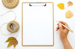Flat lay girl`s hands holds golden pen and autumn dry leaves Mockup clipboard with blank white paper sheet. Creativity royalty free stock image