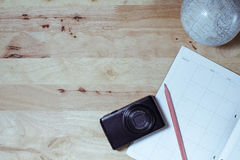 Flat lay grading color travel planning Royalty Free Stock Photos