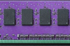 Flat lay graphic still life close-up of DIMM RAM computer memory. Horizontal background, border or icon image in purple and green ultra violet ultraviolet royalty free stock images