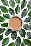 Flat lay of green leaves pattern with cup of  coffee on white ba Royalty Free Stock Image