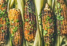 Flat-lay of grilled sweet corn with spices, close-up Stock Image