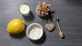 Flat lay of hand cream and natural items royalty free stock photos