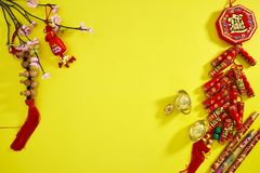 Happy lunar new year 2019. Flat lay. Happy Chinese New Year or lunar new year. 2019 yellow backgrounb style. Chinese characters mean Happy New Year Text space stock photos