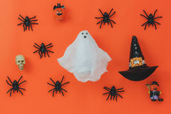 Flat lay of Happy Halloween Festival Background concept. Stock Photography