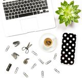 Flat lay home office desk workspace laptop supplies coffee succu Stock Photo