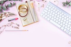 Flat lay home office workspace stock images