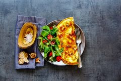 Mushroom omelette and salad royalty free stock image