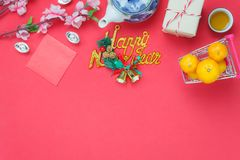 Flat lay image of items decoration & ornaments for Chinese new year and Lunar holiday Royalty Free Stock Photography