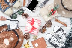 Flat lay image of items decoration & ornaments for merry Christmas. & Happy new year background concept.Difference essential accessory on the white wooden area Stock Photography