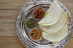 Flat lay of Indian food, Masala Dosa with Sambar and Channa Masa Stock Photos