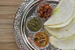 Flat lay of Indian food, Masala Dosa with Sambar and Channa Masa Royalty Free Stock Photos