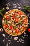 Flat lay with Italian pizza royalty free stock photos
