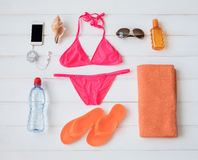 Flat lay items for sunbathing. In sun Stock Photo
