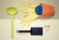 Flat lay - kitchen stuff housework concept Royalty Free Stock Images