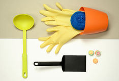 Flat lay - kitchen stuff housework concept Stock Photography