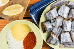 Flat lay kitchen table with raw hake and flour, paprika and corn flour.  Stock Photos