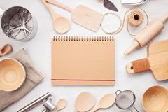 Flat lay with kitchen utensils and blank copy space. Kitchen rec. Ipe books, cooking blogs and classes concept Stock Photography