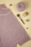 Flat lay on knitting and needlework. Italian wool Royalty Free Stock Photos