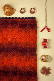 Flat lay on knitting and needlework. Italian wool Royalty Free Stock Images