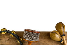Flat lay of Latin percussion on wood desk royalty free stock image