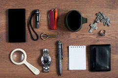 Flat lay men's  accessories Royalty Free Stock Image