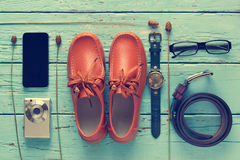 Flat lay of men's casual outfits, fashion accessory lifestyle Stock Photography