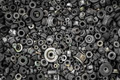 Flat Lay metal fasteners. Washers, nuts, vinitiki, screws,, top view. Close-up Carpenter`s Tool Kit royalty free stock photo