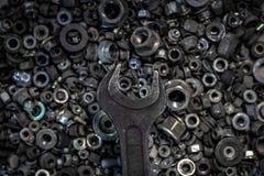 Flat Lay metal tools royalty free stock photography